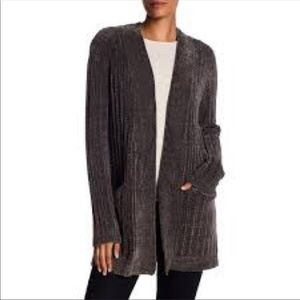 Gray chenille fuzzy cardigan